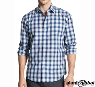 White and blue checkered mania men's shirt