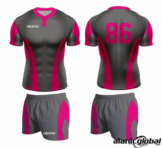 Designer Gray Rugby Jersey and Shorts