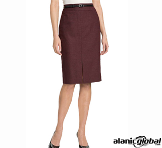 Maroon Knee-Length Formal Skirt
