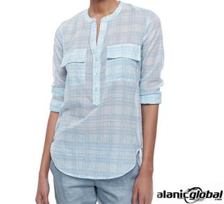 Light Blue Half Place Flannel Shirt For Women