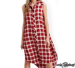 Red High Slit Flannel Shirt Dress
