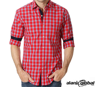 Roll-up Sleeve Red Check Flannel Shirt