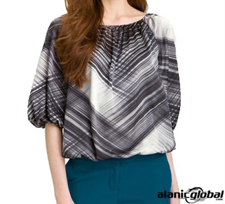 MONOCHROMATIC FORMAL PEASANT BLOUSE