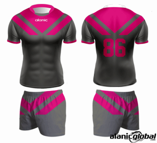 GRAY AND PINK RUGBY SPORTSWEAR