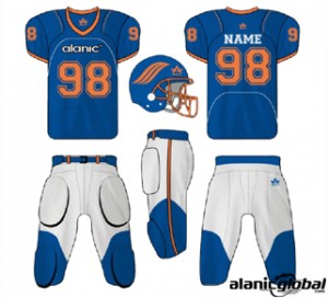 MIGHTY BLUE WHITE AMERICAN FOOTBALL SET
