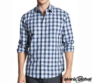 White and blue checkered mania men's shirt