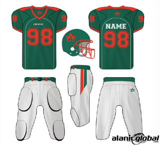 Fir green and white American football set