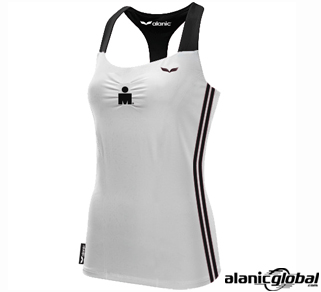 Black and white marathon ladies racer back tops
