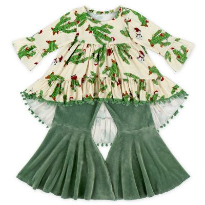 Wholesale Baby Girls Velvet Pompom Outfit