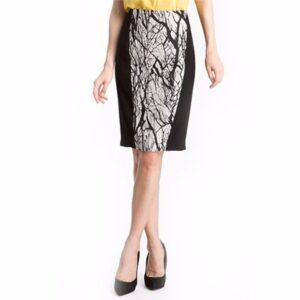 Black and White Printed Pencil Skirt Distributor