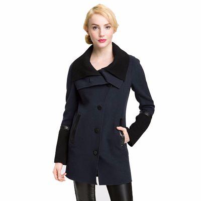Blue and Black Color Block Coat for Women Manufacturer