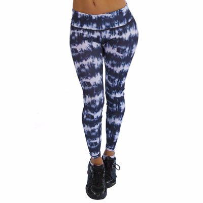 Wholesale Blue and White Tie and Dye Fitness Leggings