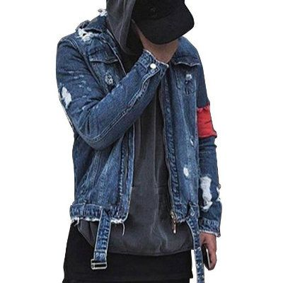 Distressed Mens Denim Jacket With Patch Supplier