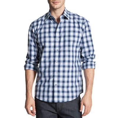 Wholesale Fashionable White and Blue Check Shirt for Men