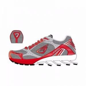 Grey, White and Red Fitness Running Sneaker Shoes Manufacturer