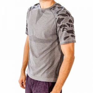 Grey with Print Sleeves Fitness T-Shirt Distributor