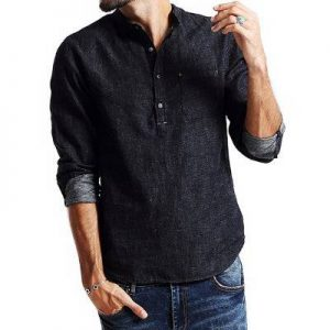 High Quality Long Sleeve Mens Denim Shirt Distributor