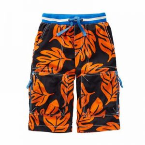 Kids' Black and Orange Leaf Print Shorts Manufacturer