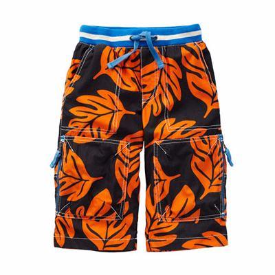 Kids' Black and Orange Leaf Print Shorts Manufacturer