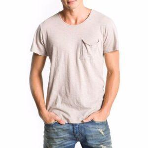 Light Beige Cotton T-Shirt for Men Wholesale