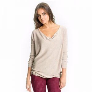 Light Beige V-Neck T-Shirt for Women Manufacturer