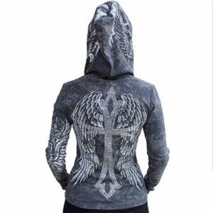Wholesale Logo Embossed Grey Hooded Custom Jacket
