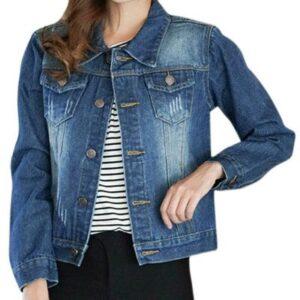 Long Sleeve Blue Color Ladies Denim Jacket Manufacturer