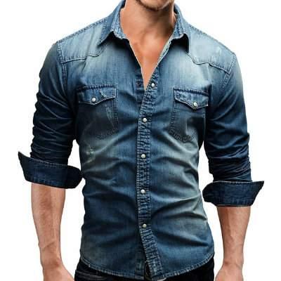 Mens Casual Blue Denim Shirt Supplier