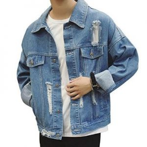 Mens Casual Wash Blue Denim Jacket Supplier