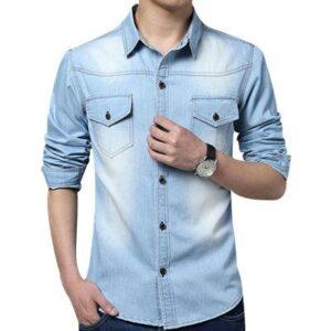 Men's Long Sleeve Casual Denim Shirt Supplier