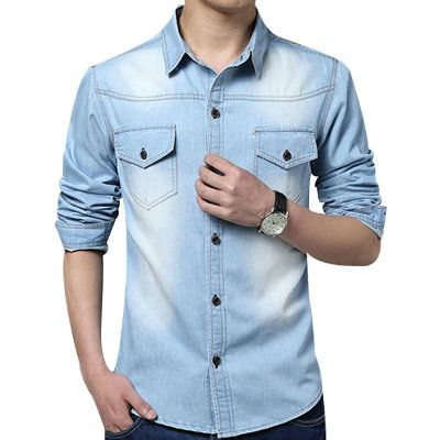 Men's Long Sleeve Casual Denim Shirt Supplier