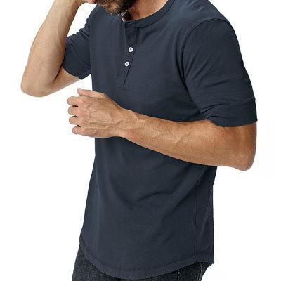 Mens Vintage Short Sleeve Navy Blue T-shirt Supplier
