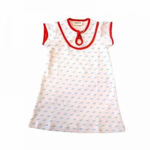 Wholesale New Born White Print Frock Dress