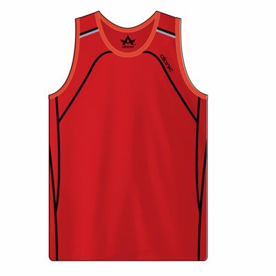 Red with Black Piping Men's Fitness Sleeveless Singlet Distributor