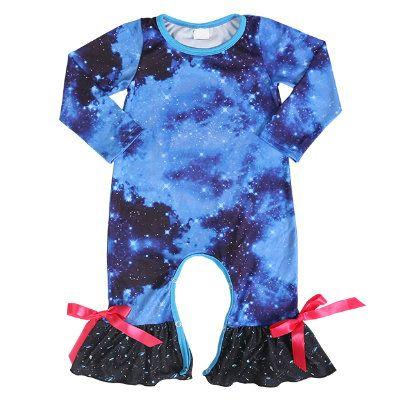 Wholesale Starry Sky Printed Long Sleeve Baby Romper
