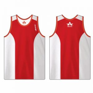 White and Red Men's Fitness Sleeveless Singlet Manufacturer