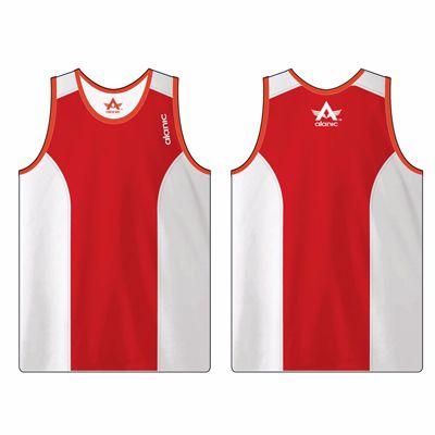 White and Red Men's Fitness Sleeveless Singlet Manufacturer