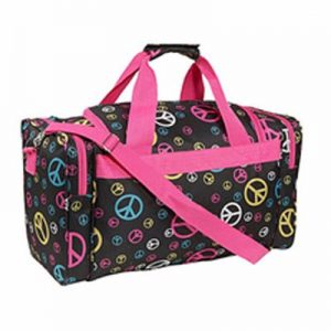 Black and Pink Printed Duffel Bag Supplier