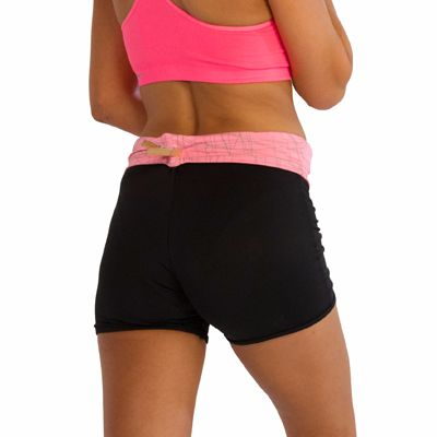 Black Fitness Shorts with Pink Waistband Distributor