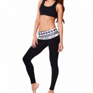 Black Yoga Suit Set with Printed Waistband Manufacturer