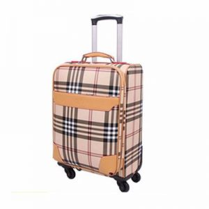 Wholesale Check Printed PU Luggage Bag