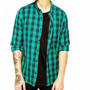 Greenish Blue and Black Checked Flannel Shirt Manufacturer