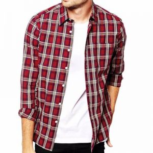 Maroon and White Flannel Shirt Supplier