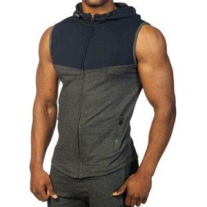 Wholesale Mens Knitted Casual Zip Sleeveless Hoodie