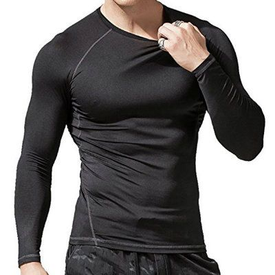 Mens Long Sleeve Black Gym T-Shirt Distributor