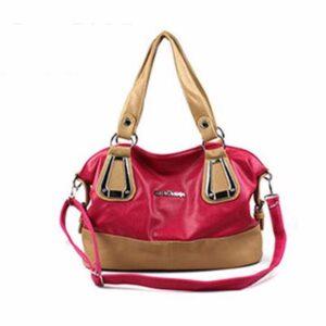 Pink and Cream Leather Handbag Supplier