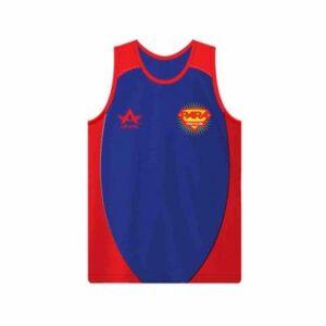 Red and Blue Sleeveless Running T-Shirt Manufacturer