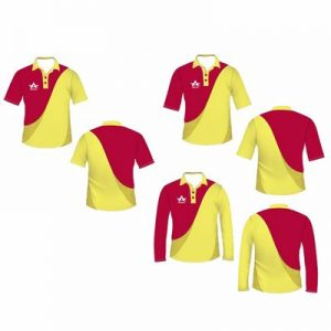 Red Yellow Mesh Cricket Clothes Manufacturer