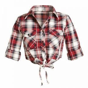 Self Tie Flannel Crop Top Supplier