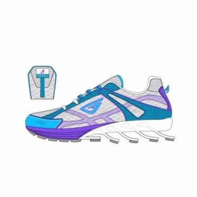White, Blue and Purple High Definition Running Shoes Distributor